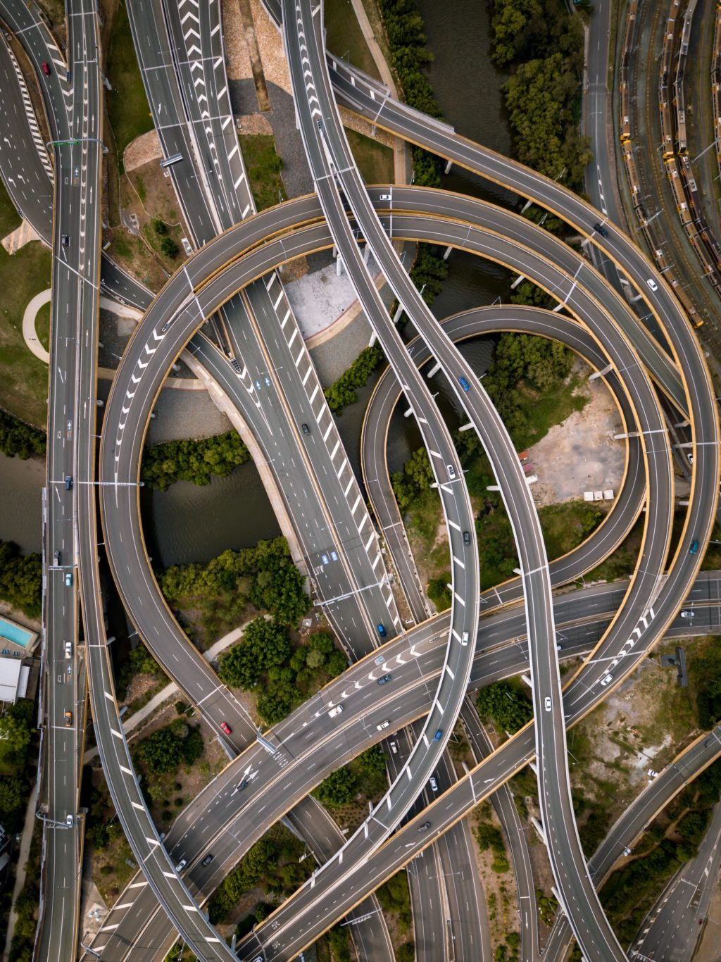 twist of concrete roads' aerial photograph