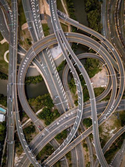 twist of concrete roads' aerial photograph