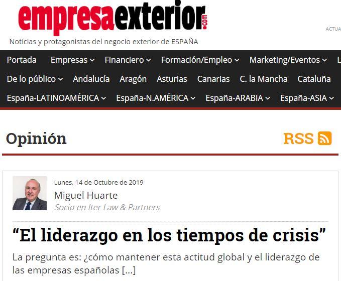 Portal Empresa Exterior - Miguel Huarte - Liderazgo en tiempos de crisis